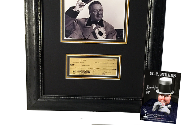 "Authentic W.C. Fields Personal ""signed"" Check, Photo and ""Straight-Up"" DVD. ​"