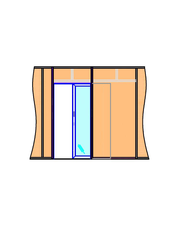 Porte vitrée à galandage