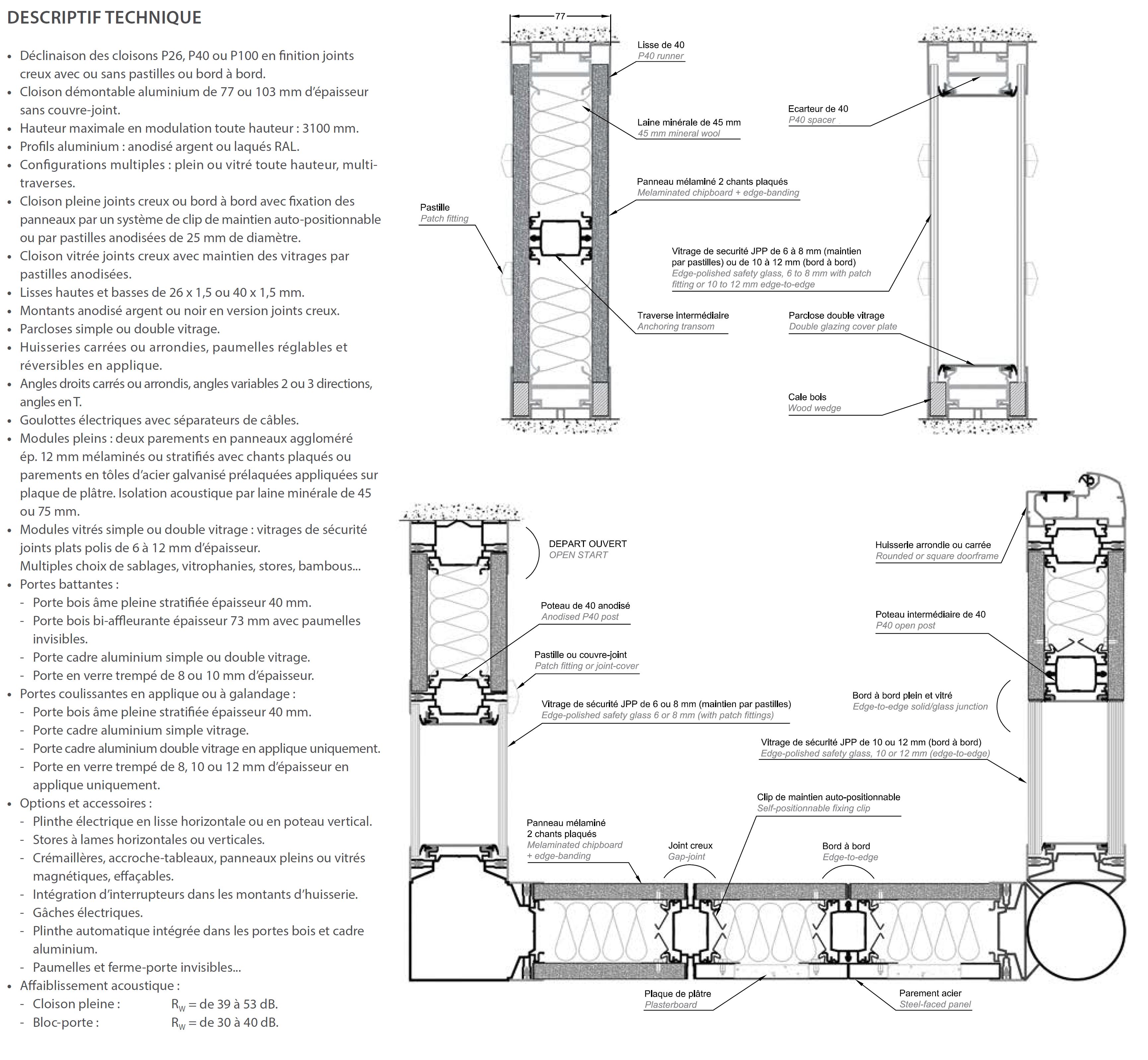 Cloison bords à bords / joints creux