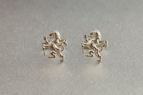 Sterling Silver Laughing Lion Cufflinks with Emerald Accents