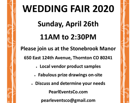 THIS EVENT WILL BE RESCHEDULED!  A FUN AND INFO-FILLED WEDDING FAIR -- BOOKMARK US FOR NEW DATE