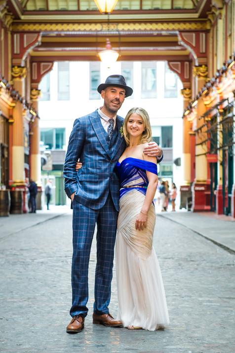 Charlotte Cross bespoke blue wedding dress