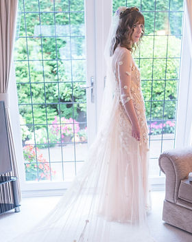 Charlotte Cross bespoke blush wedding dress