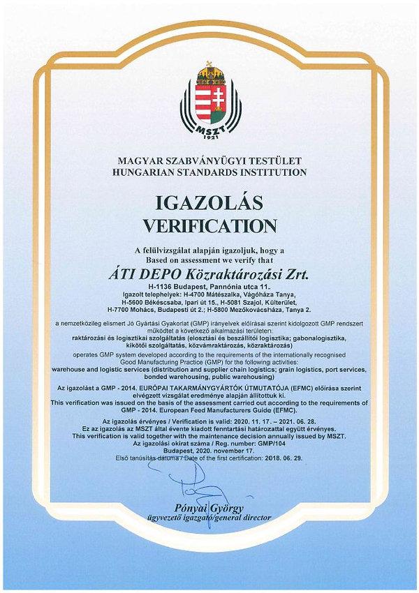 GMP verification MSZ BCS SZAJOL MO MKHAZ