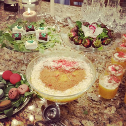 red pink dinner party desserts