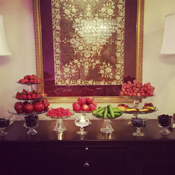 red pink dinner party fruit spread