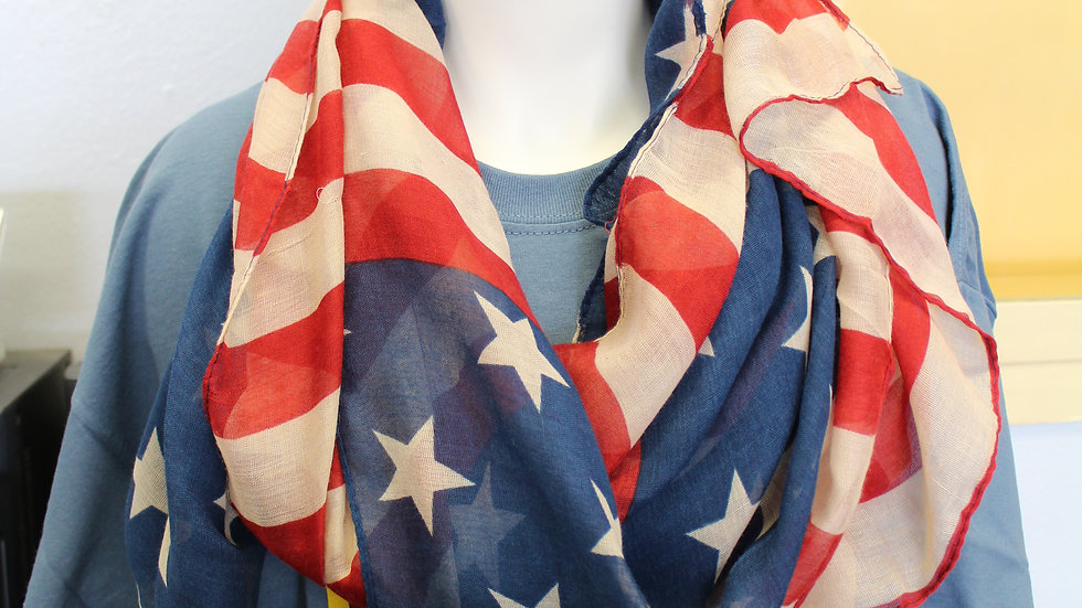 Light-weight American Flag infinity scarf