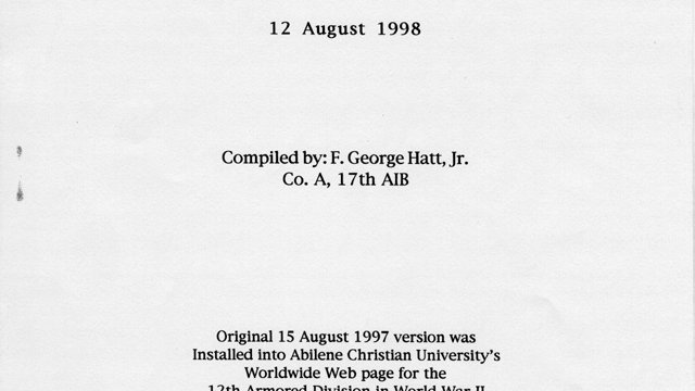 17th Armored Infantry Battalion Historical Information