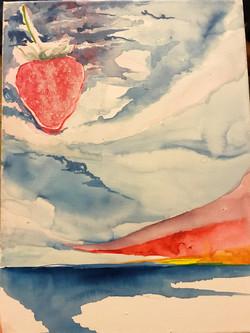 strawberry sky, gouache