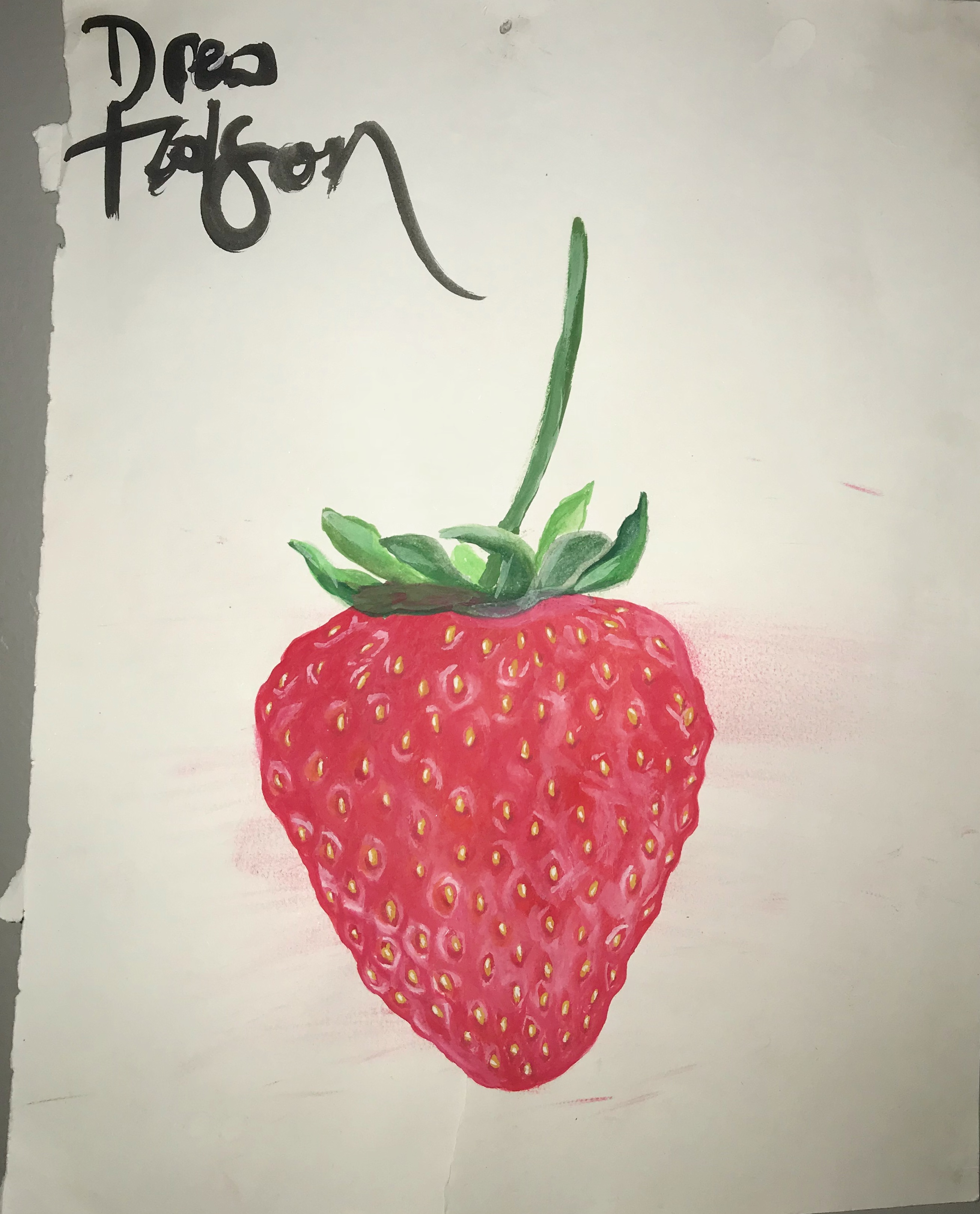 strawberry, watercolor