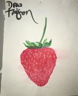strawberry, watercolor