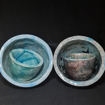 Blauw gekleurde raku pottenset