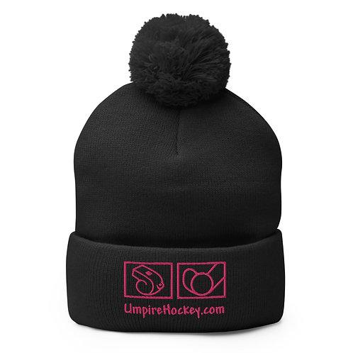 UmpireHockey.com Pom-Pom Beanie (Black w/Pink Logo)