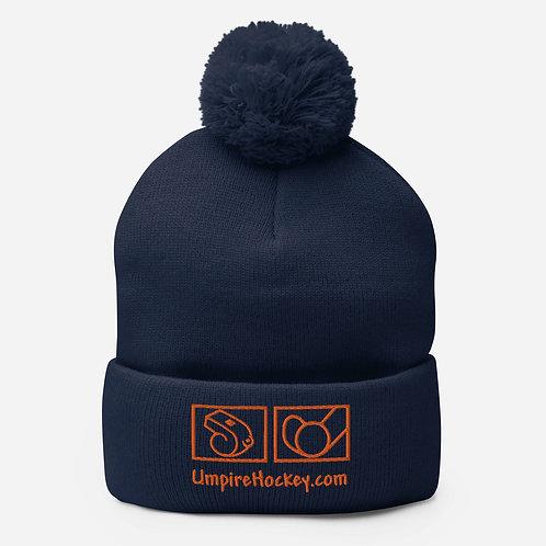 UmpireHockey.com Pom-Pom Beanie (Navy w/Orange Thread)