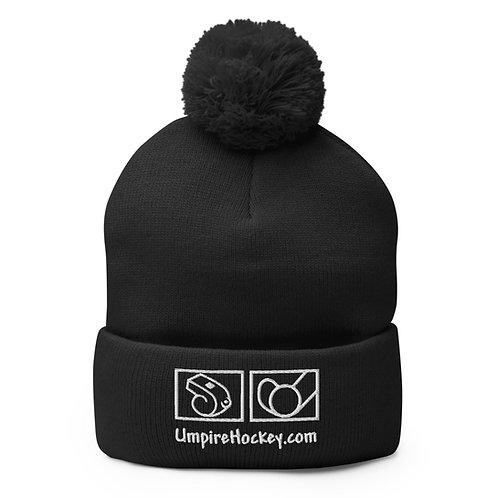UmpireHockey.com Pom-Pom Beanie (Black w/White Logo)