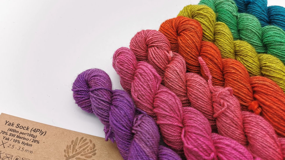 Bright Rainbow: Yak Sock Mini-Skein Collection