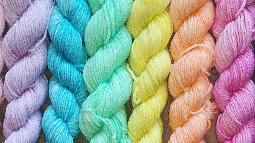 Rainbow Mini-Skein Set: (4Ply/Fingering) 6x 20g