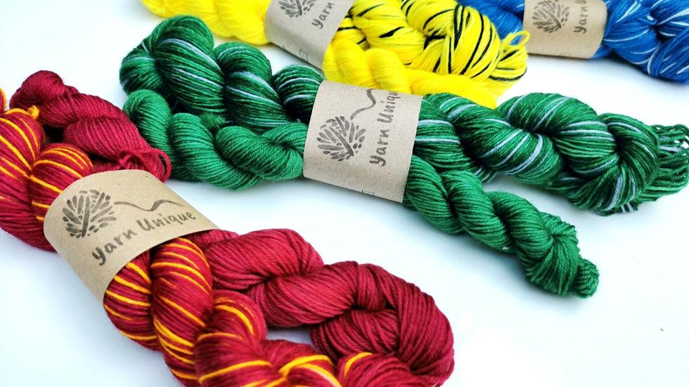 Wizarding Stripes: (4Ply/Fingering) Self Striping sock set (50g + 20g)