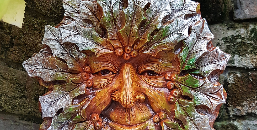 Large Winter Green Man Wall Plaque