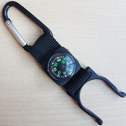 Aluminium carabiner with nylon strap and compass.