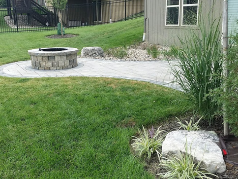 Fire pit jut out for paver patio and bac