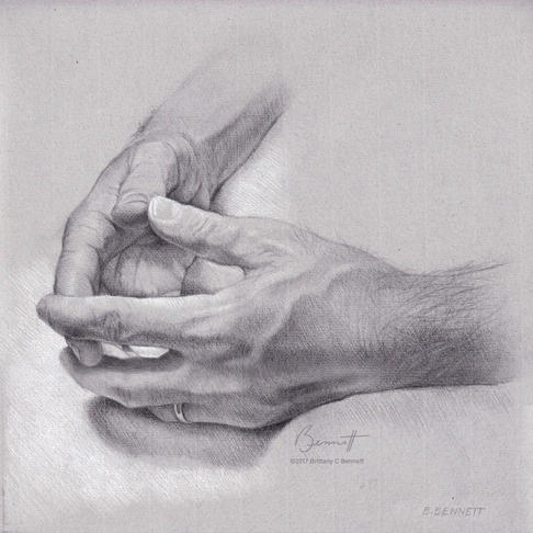 """""""Dad's hands"""" - Graphite and chalk"""