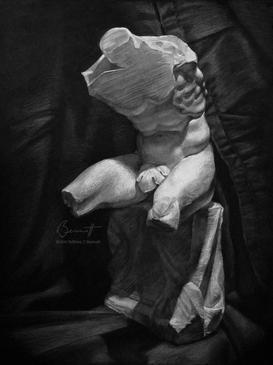"""Belvedere torso still life"" - Chalk on black paper"