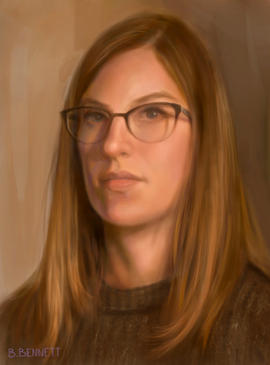 """Self portrait at 24"" - Digital painting"