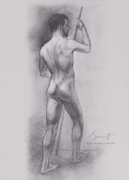 """""""Rear figure study"""" - Graphite drawing"""