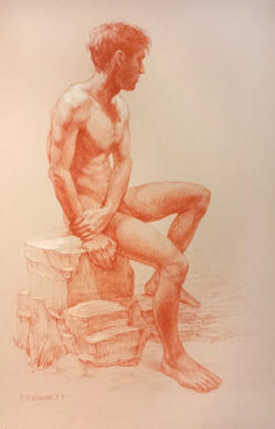 """""""Seated on rocks"""" - Pastel pencil drawing"""