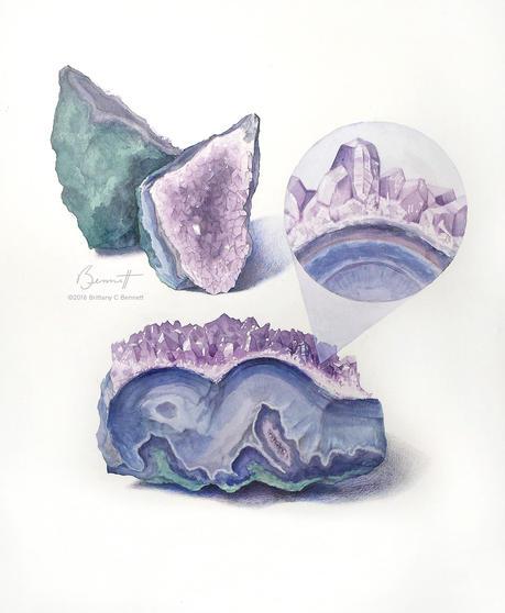 """""""Views of an amethyst geode"""" - Watercolor"""