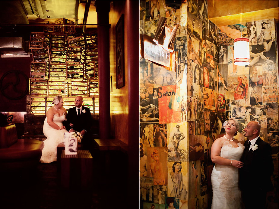 bride and groom photos in naked for satan bar in Fitzroy, Melbourne
