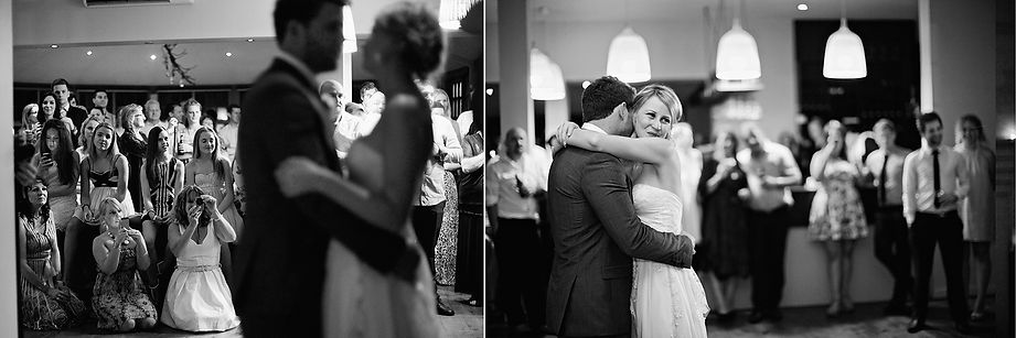 Bride and groom's first dance at Sault Restaurant in Daylesford