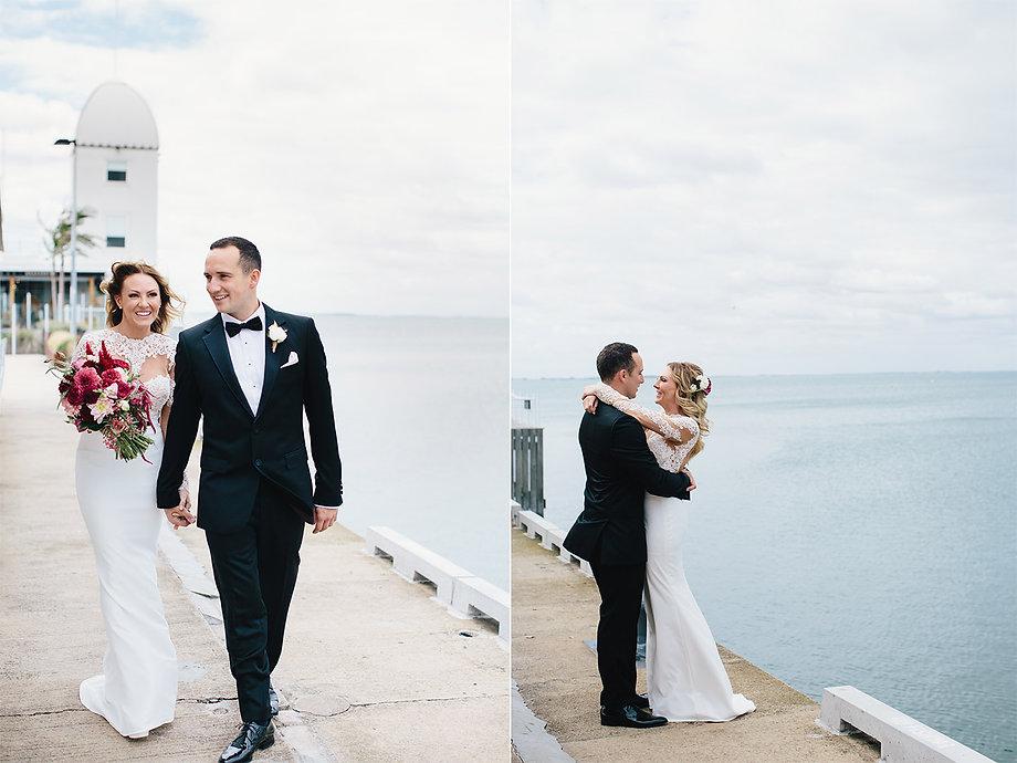 bride and groom at Cunningham pier, Geelong