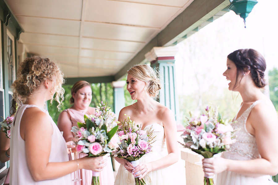 Bride and bridesmaids pink dresses Sault - Daylesford