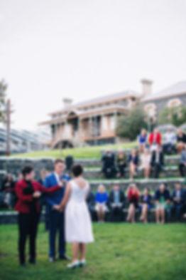 wedding photos at Footscray art center amphitheater