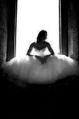 fashion wedding photography of bride at her warehouse wedding