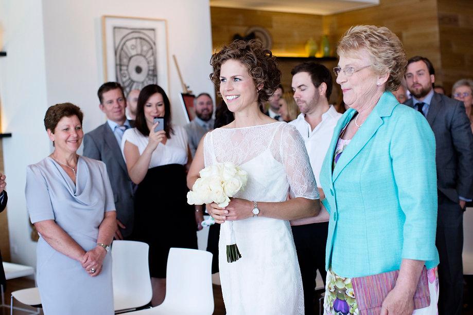 bride walking to ceremony in encore