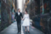 bride and groom wedding photos in Melbourne's laneways