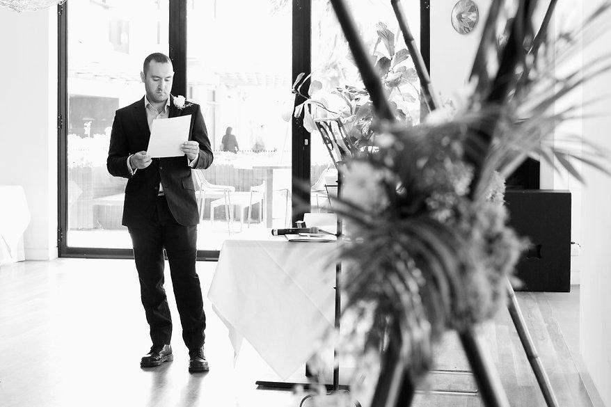 Groom reading vows, St kilda