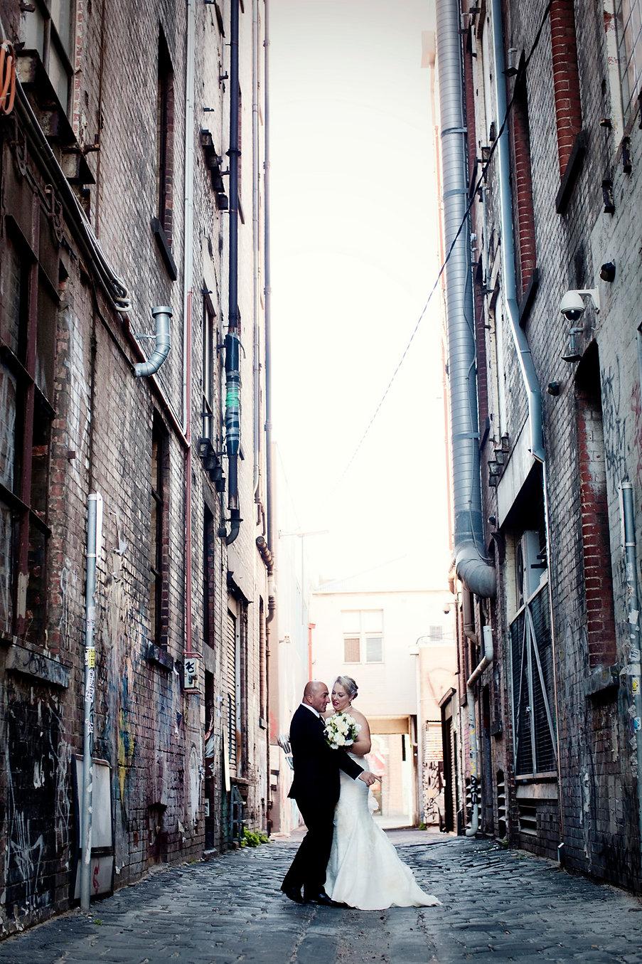 birde and groom photos down Melbourne Laneway, Fitzroy