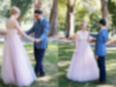 Natural photos of groom seeing bride for the first time