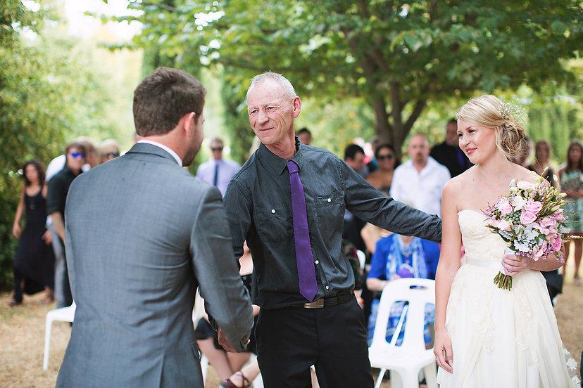 Lavandula wedding ceremony, father giving away bride