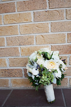 green and white Bridal flowers with birds and berries, Melbourne