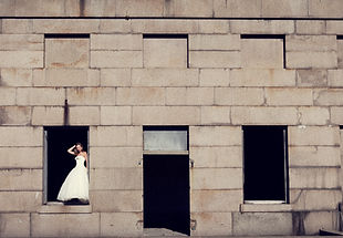 post wedding shoot melbourne, bride in a warehouse in her wedding dress