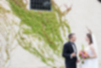 bride and groom outside chapel at Stones, Yarra Valley