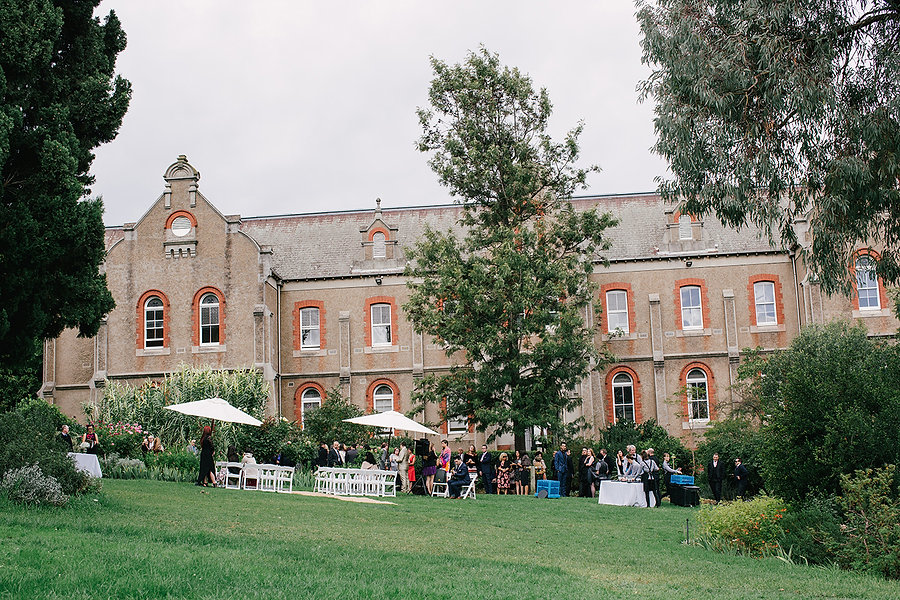 outdoor wedding ceremony at abbotsford convent