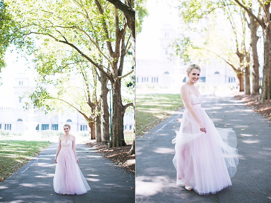 unique wedding Melbourne bride in pink dress