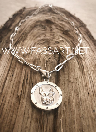 Hochwertige Boston Terrier Coin Kette