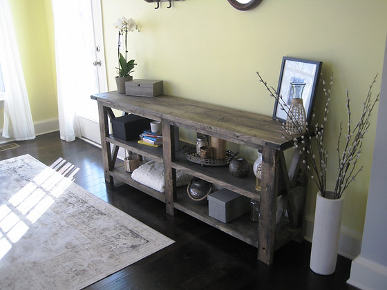 rustic X console table - large